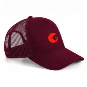 Casquette à filet Golfon Bordeaux – logo orange