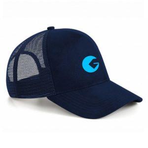 Casquette à filet Golfon Bleue marine – logo cyan