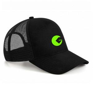 Casquette à filet Golfon Noire – logo vert